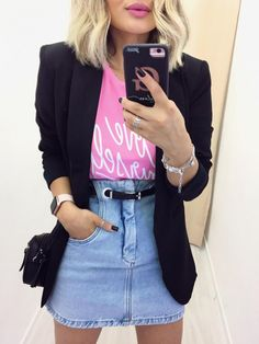 outfit with blazer Blazer Outfits Casual, Classy Outfits, Beautiful Outfits, Cute Outfits, Look Blazer, Lookbook, Look Chic, Fashion Outfits, Womens Fashion
