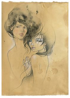 "by Audrey Kawasaki  Collab with Stella Im Hultberg  mixed media on tea stained paper 12""x16""  'The Drawing Show' @ Thinkspace  2008"