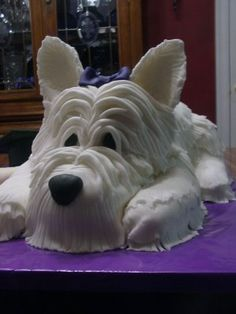 look at this little westie dog cake Dog Cakes, Cupcake Cakes, Cupcakes, West Highland White Terrier, Cake Decorating Techniques, Decorating Cakes, Westies, Westie Dog, Fancy Cakes