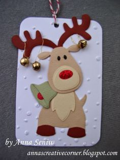 Tuesday, December 2014 A Peek Inside The Creative Corner: Jingle All the Way - A Fun Reindeer Tag with Collectables Reindeer Diy Christmas Cards, Christmas Scrapbook, Handmade Christmas, Christmas Cards For Children, Christmas Projects, Christmas Crafts, Christmas Decorations, Christmas Ornaments, Jingle All The Way