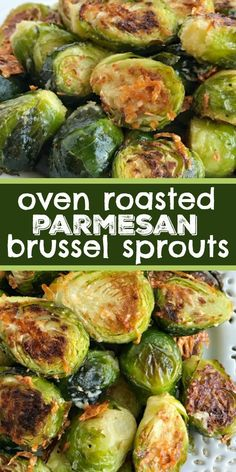 Sprout recipes - Oven Roasted Parmesan Brussel Sprouts Brussel Sprouts Recipe Side Dish Recipe Oven roasted parmesan Brussel sprouts are a quick & easy 20 minute side dish that are healthy and delicious Only a f Veggie Side Dishes, Healthy Side Dishes, Vegetable Dishes, Side Dish Recipes, Veggie Recipes, Food Dishes, Cooking Recipes, Quick Recipes, Oven Recipes