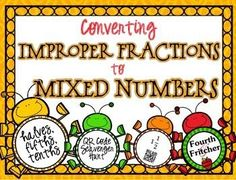 This product contains a scavenger hunt that students will use to practice and reinforce converting improper fractions to mixed numbers. These problems emphasize halves, fifths and tenths.Students will work their way around the room using QR Codes! Each clue leads the students to the next code and so on until a ten-problem circuit is complete.