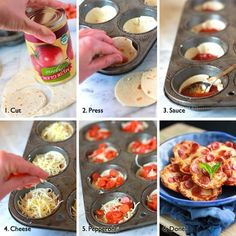 Cut dough, press into a muffin dish, add sauce, then pepperoni . Cute little mini pizza bites! Bake on 350 for 20 min. Mini Pizzas, Pizza Bites, Pizza Cups, Bagel Bites, Taco Bites, Comida Diy, Do It Yourself Food, Tortilla Pizza, Tortilla Wraps