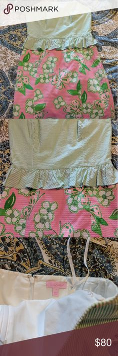 Lilly Pulitzer Dress Size 6 Sweet Lilly dress with a structured top and ruffles. Used but in great condition. PLEASE MAKE AN OFFER! 😊 Lilly Pulitzer Dresses Strapless
