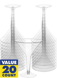 Clear Plastic Martini Glasses 20ct - Party City for the mashed potato bar