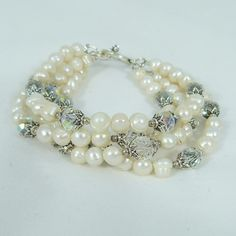 Renaissance 4 Strand Pearl and Crystal Bracelet by tbyrddesigns, $39.00