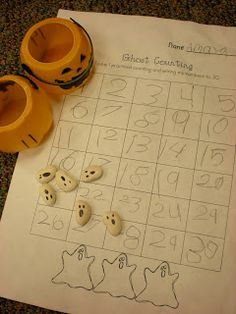 Lima Bean Ghosts - Growing Kinders: Math Centers