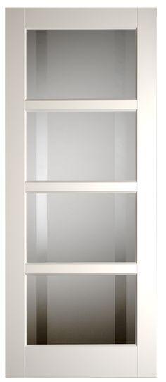 Binnendeur met glas hal <<>> woonkamer New Homes, Interior Design, Bookcase, Home, Interior, Bathroom Doors, Home Deco, Doors, Home Decor