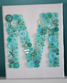 DIY button letters for Morgan or Dave and my bedroom cover back with fabric and hang with ribbon OR on canvas and frame