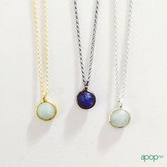 Sterling Silver Single Color Stone Pendant Solitaire Necklace 18 inch | apoptosisnyc.com