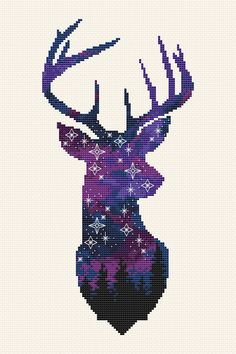 Space deer cross stitch pattern Animal cross stitch Galaxy Forest cross stitch Night sky embroidery