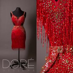 Red Latin w/ All Over Beaded Fringe & Attached Side Wings