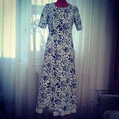 Вот и конечный результат) Фото не передает всей прелести этого льняного платья с вязаным кружевом...