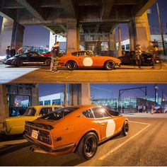 6th street bridge farewell. Taken last week. Thank you @magnuswalker for the great meetup!  Owners - @sennavsprost and @mattcrooke. Tag a friend. DM pics if you like. What's in your garage?  #Datsun #datsun240z #240z #s30 #datsungarage #zcar #porsche #porsche911  #6thstreetbridge #losangeles