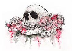 morbid: Skull and Flowers Vector Illustration Day of The Dead Illustration