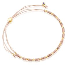 Adjustable Love Skinny Friendship Bracelet with 18 Carat Yellow Gold Beads | Biography by Astley Clarke