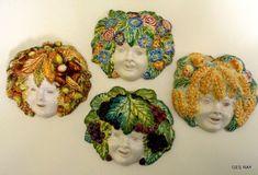 Vintage Four Seasons Masks Inverno, Bacchus, Estate, Primavera Majolica Ceramic Amalfi Italy, Ceramic Mask, Bacchus, Four Seasons, Ceramic Pottery, Baroque, Etsy Seller, Hand Painted, Ceramics