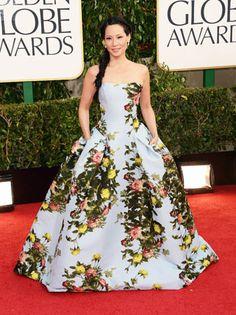 Lucy Liu in Carolina Herrera for 2013 Golden Globes