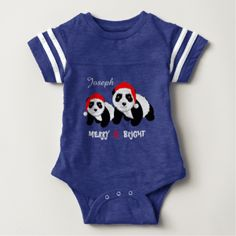 Such a cute top with two panda bears looking very festive in their red and white Santa hats and text reading Merry & Bright. So easy to customize with a personal name making it as ideal gift idea for kids.