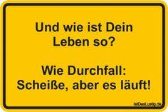 Und wie ist Dein Leben so?  Wie Durchfall: Scheiße, aber es läuft! ... gefunden auf https://www.istdaslustig.de/spruch/661 #lustig #sprüche #fun #spass