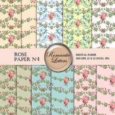 Sale 40 Floral Digital Scrapbook Paper     ROSE by RomanticLetters, $3.00