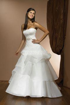 Organza Natural Waist Crystal Long Wedding Dress