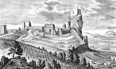 Drawing of the Dévény Castle, now know as Devín Castle, Slovakia. Castle Rock, Medieval Castle, 15th Century, Roman Empire, Old Pictures, Old Things, Europe, Tours, Country