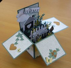 Card in a box - new home. Card In A Box, Pop Up Box Cards, Card Boxes, Z Cards, New Home Cards, Exploding Box Card, Memory Crafts, Shaped Cards, Candy Cards