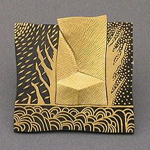 """Namu Cho from the 'Artists at the Forge' 2003 Exhibition. """"Mirage"""" Pin. Damascene. 24K Gold, 18K Gold, and Steel."""