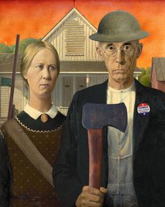 Check out our american gothic selection for the very best in unique or custom, handmade pieces from our shops. Grant Wood American Gothic, American Gothic Parody, Famous Art Pieces, Famous Artwork, Fall Crafts For Kids, Diy Arts And Crafts, Art Grants, Retro Robot, Zombie Art
