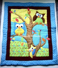 Owl Baby Blanket Quilt  Owls in Tree and Flannel Minky Patchwork Back.Owl Crib  Nursery bedding