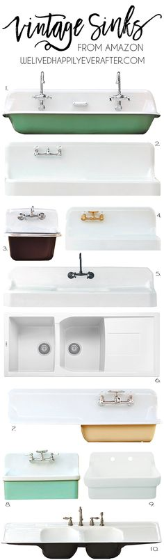Vintage Looking Farmhouse Sinks For Your Home (Apron & Drainboard Style) – – Vintage Farmhouse Sink Vintage Farmhouse Sink, Farmhouse Bathroom Sink, Vintage Sink, Vintage Kitchen, Kitchen Sinks, Modern Farmhouse, Farmhouse Style, Vintage Style, Kitchen Islands