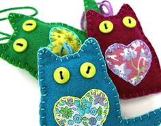 Felt cat ornaments Felt Christmas by PuffinPatchwork on Etsy
