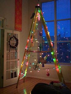Ladder Christmas Tree is very fun and you can decorate it with your imagination. Although lots people love a traditional tree,they may also like Ladder Christmas Tree. You can save … Ladder Christmas Tree, Unusual Christmas Trees, Creative Christmas Trees, Alternative Christmas Tree, Noel Christmas, All Things Christmas, Christmas Crafts, Christmas Decorations, Redneck Christmas