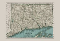 VINTAGE CONNECTICUT MAP Vintage Map of by EncorePrintSociety