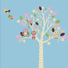 Kids Wall Art Tree Decal  Nursery  Birds Owls