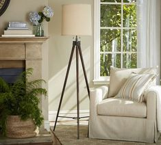 Pottery Barn floor lamp from surveyor tripod/easel by Scavenger Chic