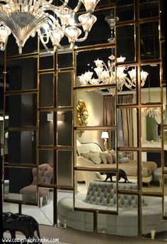 Not all guys want a rustic vibe. Cool reflections: Christopher Guy - Luxury Lifestyle Furnishings for the International Jet Set Mirror Decor Living Room, Living Room Interior, Dark Bathrooms, Partition Design, Wall Design, Wall Mirror Design, Mirror Walls, Wall Mirrors Set, Diy Mirror