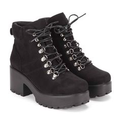 """We have spruced up our classic boot in - Smooth, crushed effect velvet upper- Chunky heel and platform sole- Sole: 100% other material- Lace up- Heel height: 3"""""""