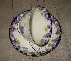 Royal Doulton - Violets & Black - Teacup Set