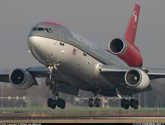 Northwest Airlines McDonnell Douglas DC-10-30 N236NW touching down at Amsterdam-Schiphol, February 2005. (Photo: William van Wanrooy)