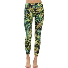 Patterned Yoga Legging Tropical Green