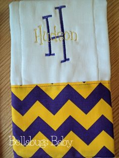 Chevron Personalized Monogrammed Baby Burp Cloth...Purple and Gold - Perfect for a Boy or Girl