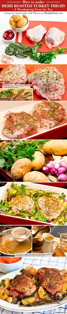 Herb Roasted Turkey Thighs | turkey thighs, a handful of garlic, a handful of pearl onions, 4 small potatoes, 2 sprigs of sage, 2 sprigs of rosemary, 2 sprigs of parsley, 2 bay leaves