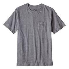 Patagonia P-6 Logo Cotton Pocket T-shirt Men's ($50) ❤ liked on Polyvore featuring men's fashion, men's clothing, men's shirts, men's t-shirts, mens jersey t shirt, mens pocket t shirts, mens cotton t shirts, mens shirts and mens t shirts