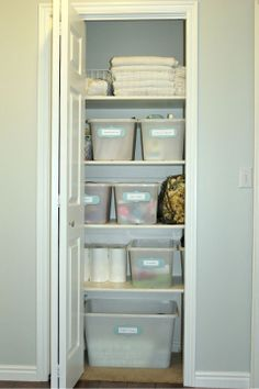 Organizing Linen Closets Hall Closets On Pinterest Linen Closets