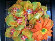 large summer colorful wreaths   Lime and Orange Mesh Summer Wreath with Flower by lilmaddydesigns