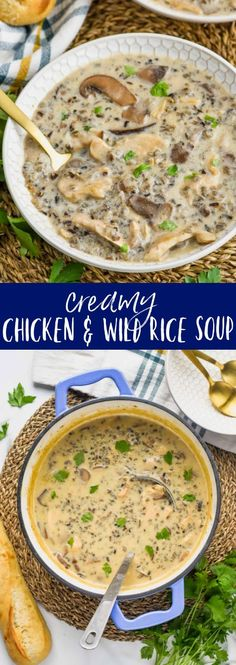This Creamy Chicken and Wild Rice Soup is the definition of comfort food! Full of delicious, rich, earthy flavors and easy to make, it is filling and perfect for your next dinner recipe!  You will love this chicken wild rice soup and you will make it again and again.