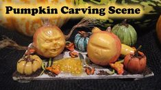Miniature Polymer Clay Halloween Pumpkin Carving Scene Tutorial // Maive...