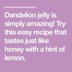 Dandelion jelly is simply amazing! Try this easy recipe that tastes just like honey with a hint of lemon. Dandelion Jelly, Healthy Words, Jam And Jelly, Home Canning, Jelly Recipes, Stop Eating, Health And Fitness Tips, Resin Crafts, Easy Meals